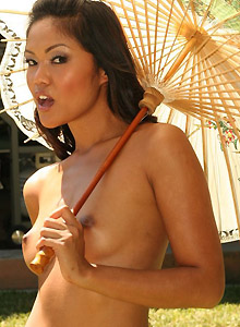 Asian Teen Naked Outside Looking For Shade - Picture 11